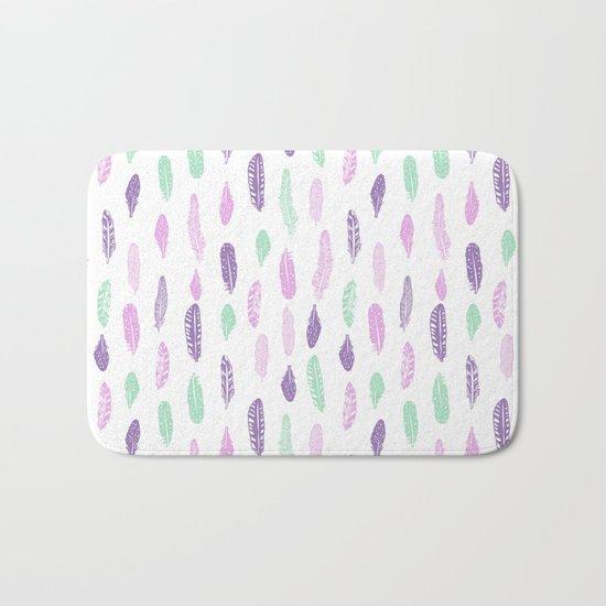 Feathers pastel lilac and mint pink nursery pattern minimal trendy boho hipster pattern Bath Mat
