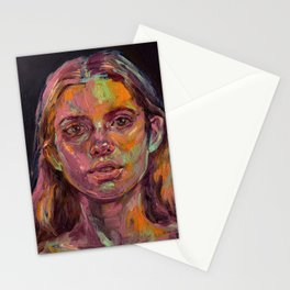Oil painting - Girl Portrait #3 Stationery Cards