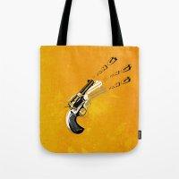 gun Tote Bags featuring gun  by mark ashkenazi