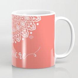 Persevere mandala white coral Coffee Mug