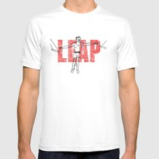 LEAP MEDIUM White Mens Fitted Tee