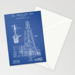 Oil Drilling Rig blue patent Stationery Cards