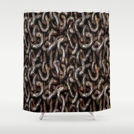 Chain Pattern Grunge Print Shower Curtain