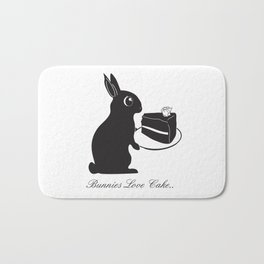 Bunnies Love Cake, Bunny Illustration, cake lovers, animal lover gift Bath Mat