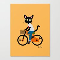 cycling Canvas Prints featuring Summer cycling by BATKEI