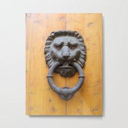 Lion Door Knocker Metal Print