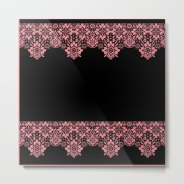 Retro .Vintage . Pink lace on a black background . Metal Print