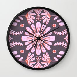 Boho Florals Pink Red Purple Wall Clock