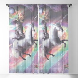 Space Cat Riding Unicorn - Laser, Tacos And Rainbow Sheer Curtain