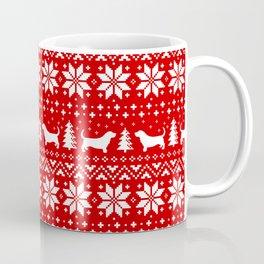 Basset Hound Silhouettes Christmas Sweater Pattern Coffee Mug