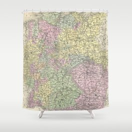 Vintage Map of Germany (1853)  Shower Curtain