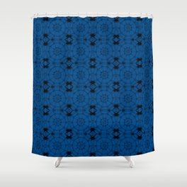 Lapis Blue Pinwheels Shower Curtain