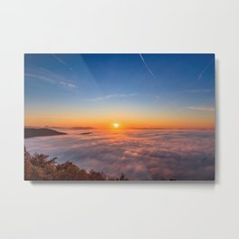 Sun peaking above clouds in the morning Metal Print