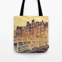 amsterdam Tote Bags featuring Amsterdam by takmaj