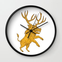 Wild Boar Razorback With Antlers Prancing Drawing Wall Clock