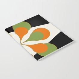 Mid-Century Modern Art 1.4 - Green & Orange Flower Notebook