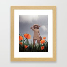 Wind rises in a poppy field Framed Art Print