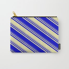 Pale Goldenrod & Blue Colored Stripes Pattern Carry-All Pouch