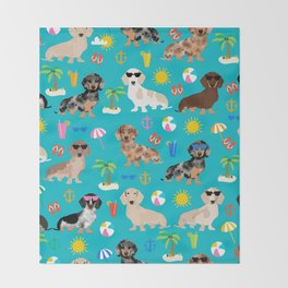 Dachshunds beach summer tropical vacation weener dogs doxie gifts Throw Blanket