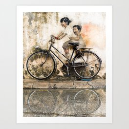 Kids on Bicycle - Reflections of Penang Art Print