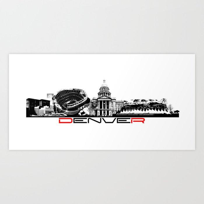 Denver skyline city black Art Print