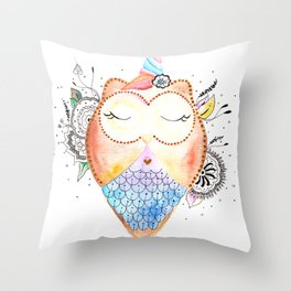 Cute Owl Watercolor Art Illustration Throw Pillow