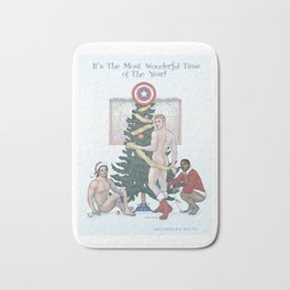Team Cap Naughty Pinup Holiday Card Bath Mat