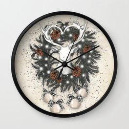 White Deer In The Christmas Wreath Wall Clock