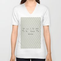 calendars V-neck T-shirts featuring Oh .... i do like to be beside the seaside ~ polka dot ~ poster ~ typography ~ illistration by Shabby Design Studio