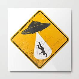 Caution: Abduction Zone Metal Print