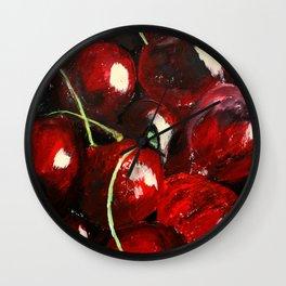 Cherries - Still Life In Acrylics Original Fine Art Wall Clock