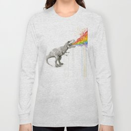 T-Rex Rainbow Puke - Facing Right Long Sleeve T-shirt