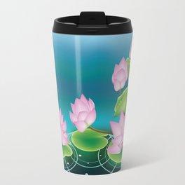 Lotus Flower with Leaves Travel Mug