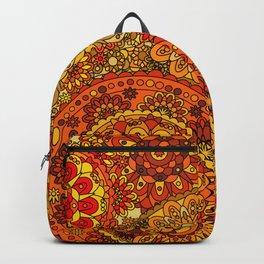 1960's Hippie Retro Mandala in Red, Gold, Orange Backpack