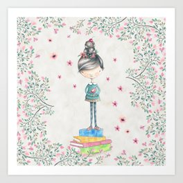 Bookish Girl Watercolor Art Print