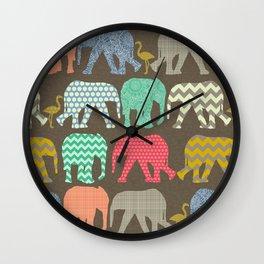 baby elephants and flamingos dark linen Wall Clock