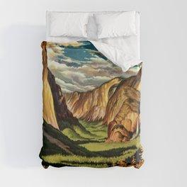 Yosemite National Park - Vintage Travel Duvet Cover