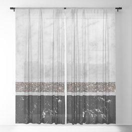 White and Black Marble Silver Glitter Stripe Glam #1 #minimal #decor #art #society6 Sheer Curtain