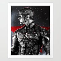 avenger Art Prints featuring First Avenger by p1xer