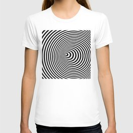 Vortex, optical illusion black and white T-shirt