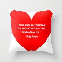 dolly parton Throw Pillows featuring Dolly Parton by Geraldine Mattis