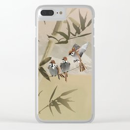 Spring Sparrows in Bamboo Tree Clear iPhone Case