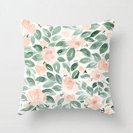 "Loose watercolor florals, ""Miriam"" Throw Pillow"