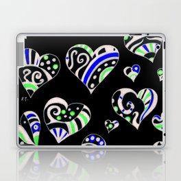 Artsy Hearts Doodles Scribble Black Laptop & iPad Skin