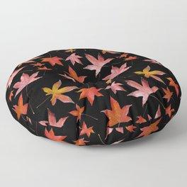 Dead Leaves over Black Floor Pillow
