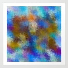 blue brown and pink plaid pattern Art Print
