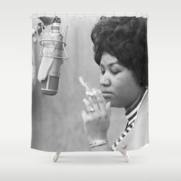 Aretha Franklin Poster Photo Paper Shower Curtain