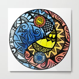 Yin Yang Fire and Ice Tangle Metal Print