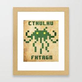 Cthulhu 8BIT Fhtagn Framed Art Print