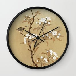 White Pear Blossoms And Sparrow Wall Clock